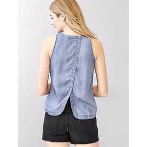 Gap denim tencel split back tank
